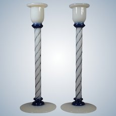 "Pair of 12"" Fry Foval Delft Hand Blown Blue Glass Candlesticks"