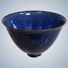 Gertrud & Otto Natzler Hand Thrown Pottery Vase in Colbalt Blue