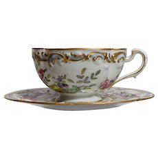 French Hand Painted Cup & Saucer with Exotic Bird & Flowers, Circa 1930