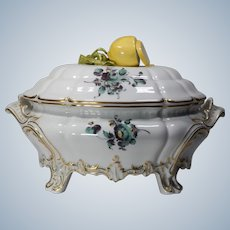 Nymphenburg Hand Painted Oval Tureen with Lemon Finial