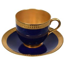 Royal Worcester Demitasse Cup & Saucer, Cobalt Blue with Gold Gilt Interior
