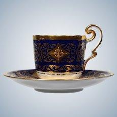Cauldon Demitasse Cup & Saucer with Raised Gold Decoration