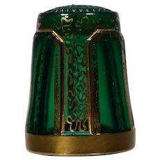 Rare Moser Art Glass Thimble Green Glass & Gold Gilt
