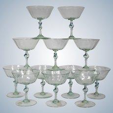12 Rare Salviati Hand Blown Champagne Glasses