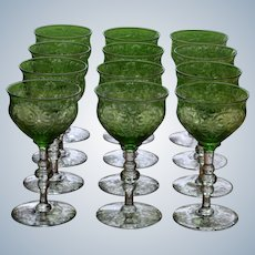 12 Webb Green Cut to Clear Port Wine Glasses - Finely Engraved