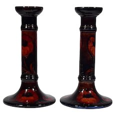 "Pair of Moorcroft Flambe ""Poppy"" Pattern Candlesticks, Circa 1920"