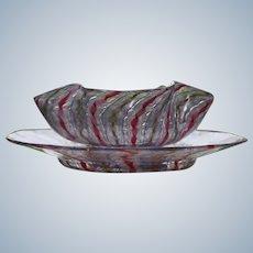 Salviati Venetian Murano Glass Lattichino Bowl & Underplate