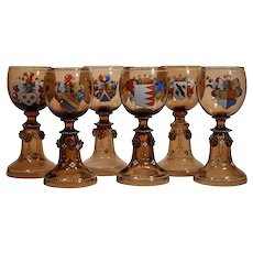 6 Moser Armorial Wine glasses