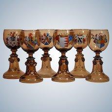 6 Moser Armorial Wine glasses
