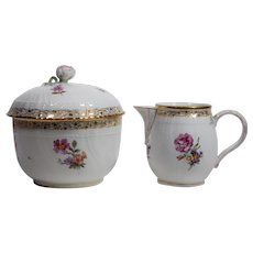 KPM Hand Painted covered Sugar & Creamer, Circa 1920