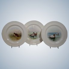 3 Lenox Hand Painted Game Plates, Artist Signed J.Nosek