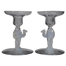 Libbey Silhouette Camel Candlesticks, Pair, Opalescence