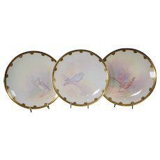 8 Minton Hand Painted Game Plates, J.E. Deam, Made for Tiffany
