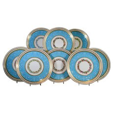 8 Minton Turquoise Pate-Sur-Pate with Hand Painted Flowers
