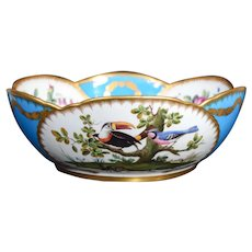 Minton Turquoise Hand Painted Center Bowl, Circa 1865