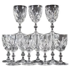 11 Steuben Wine Glasses Engraved with Leaves