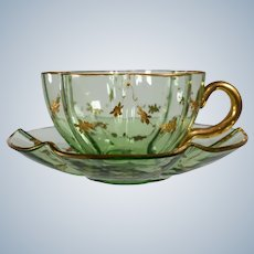 Baccarat Hand Blown Green Cup & Saucer with Raised Paste Gold
