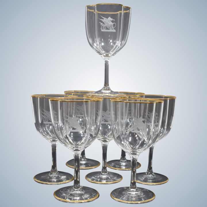 8 Moser Wine Glasses with Finely Engraved Family Crest