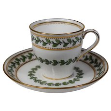 Mintons Demitasse Cup & Saucer with Leaves & Berrie's and Raised Gold Dots