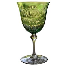 Webb Green Engraved Wine Glass with Irises