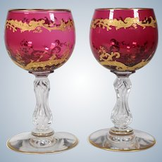 Pair of St. Louis Cranberry & Gold Wine Glasses