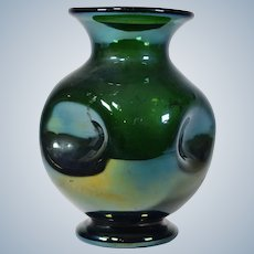 Webb Bronze Art Glass Vase with Pinched Dimples