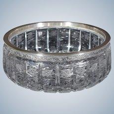 Russian Cut Glass Bowl with 875 Russian Silver Rim