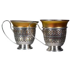 Pair of Steuben Aurene Art Glass and Sterling Demitasse Cups