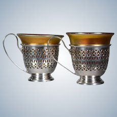 Pair of Steuben Aurene Art Glass and Sterling Demitasse Cups