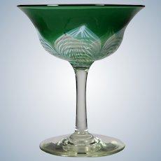 Durand Art Glass Champange with Pulled Feather Design