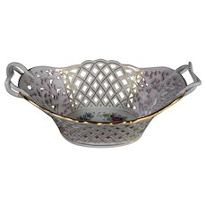 "Herend Pierced Centerpiece ""Indian Basket"" Multi Color"