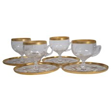 "Set of 4 Moser ""Iris"" Engraved Cups & Saucers"