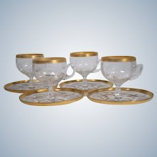 """Set of 4 Moser """"Iris"""" Engraved Cups & Saucers"""