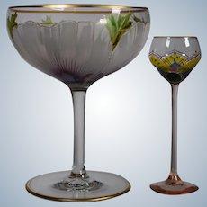 Pair of Enamel Theresienthal Enameled Glasses