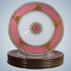 Rare Set of 8 Wedgwood Columbia Powder Pink Dinner Plates