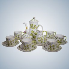 Royal Worcester Blind Earl Tea Set with 6 Cups & Saucers, Hand Painted