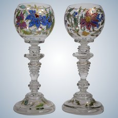 Pair Fritz Heckert Hand Enameled Wine Glasses, Circa 1900