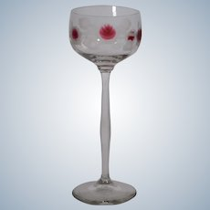 Moser Engraved Wine Glass with Manquerty Cabochons in Ruby, Circa 1900