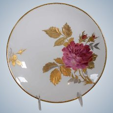 Hand Painted English Cabinet Plate with Hand Painted Roses & Gilding Minton