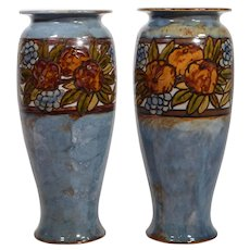 Pair of Artist Signed Royal Doulton Vases, Hand Painted