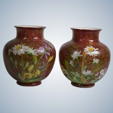 Pair of Baccarat Opaline Vases with Hand Painted Flowers, Circa 1890