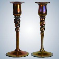 Steuben Gold Aurene Candlesticks, Hand Blown, Circa 1920, Shape 686