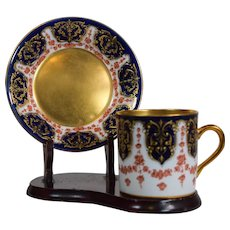 Royal Doulton Raised Gold Gilded Hand Painted Cup & Saucer, Circa 1900