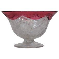 Steuben Cranberry to Clear Cut Glass Finger Bowl with Fine Engraving, Signed
