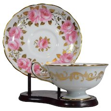 Hammersley Hand Painted Cup & Saucer with Roses, Circa 1950