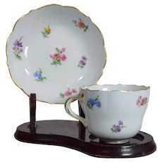 Meissen Hand Painted Demitasse Cup & Saucer, Scattered Flowers