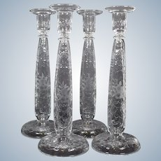 4 Cut Glass Engraved Webb Corbett Tall Candlesticks, Signed
