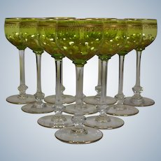 Set of 10 French Hock Wine Glass Baccarat, St Louis