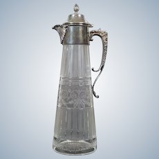 Asprey Sterling Silver and Cut Glass Decanter, Ewer