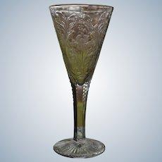American Brilliant Period Engraved & Cut Glass Lange Vase